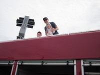 On top of fire truck